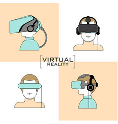 virtual reality headset icon flat design line vector image vector image
