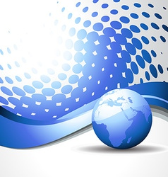 wave with blue earth vector image vector image