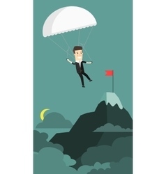 Businessman landing to the goal with parachute vector image