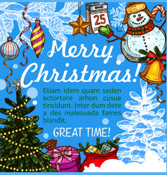Christmas greeting card for new year holidays vector