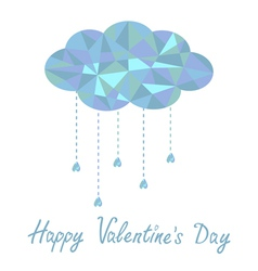 cloud with hanging drops Polygonal Valentines Day vector image vector image