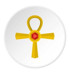golden ankh symbol icon circle vector image