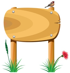 wooden sign grass bird1 vector image vector image