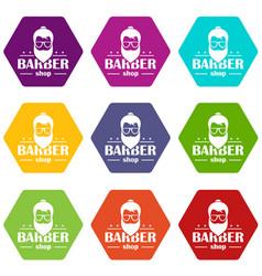 barber shop icons set 9 vector image