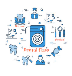 blue round banner - dental floss health care vector image vector image