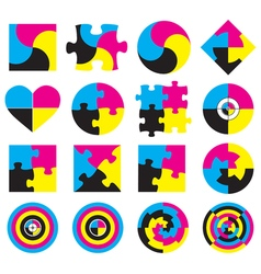 Creative CMYK logo or icon design collection over vector image