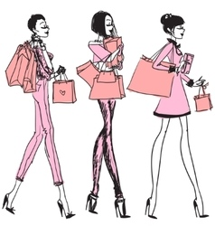Pretty girls with shopping bags vector image vector image