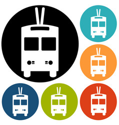 trolleybus sign icon vector image