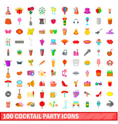 100 cocktail party icons set cartoon style vector image