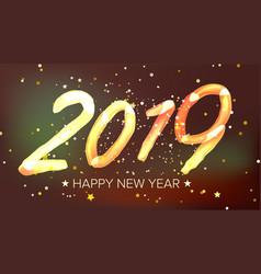 2019 happy new year background glow neon vector image