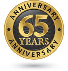 65 years anniversary gold label vector