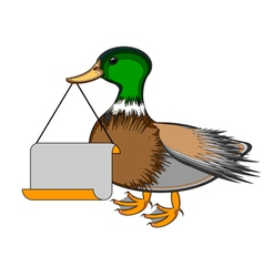 A duck holding a big blank paper in his beak vector image