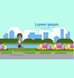 african american woman running full length city vector image