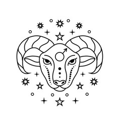 Aries zodiac sign on white vector