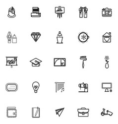 Art and creation line icons on white background vector image