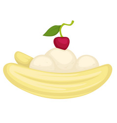 banana dessert with ice cream or mousse and cherry vector image