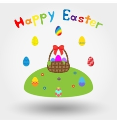 Basket with bow and easter eggs vector image