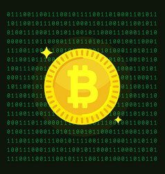 bitcoin cryptocurrency digital money block chain vector image