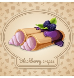 Blackberry crepes badge vector