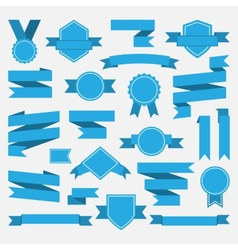 Blue ribbonsmedalawardset vector image