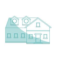 blue shading silhouette cartoon facade big vector image