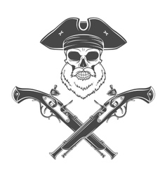 Captain skull with beard in cocked hat vector