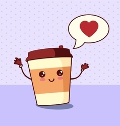 Cartoon comic coffee paper cup vector