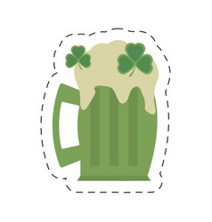 cartoon green glass beer clover st patricks day vector image