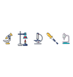 chemical tools icon set cartoon style vector image