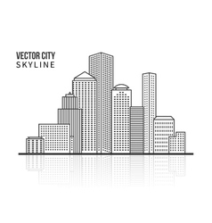 City skyline silhouette in line style vector image