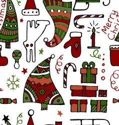 Classic colored hand drawn Christmass elements vector image