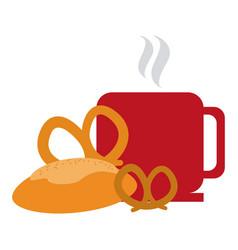 Coffee mug and croissant bread vector