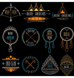 Collection badges and labels in indian tribal vector