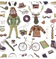 Colored hand-drawn hipster style pattern vector