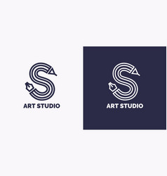 Conceptual label and emblem art studio vector