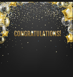 congratulations card with golden balloons vector image