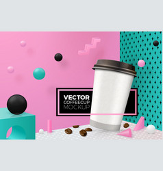 corner wall abstract scene with coffee cup vector image