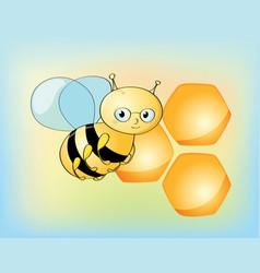 Cute bee character and beehive vector