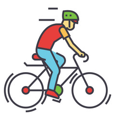 cyclists sport bikes bicycling bycicle man vector image