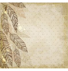 Decorative ethnic background with feathers vector