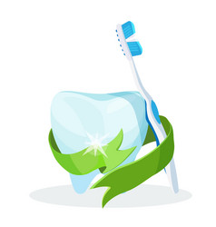 Dental care poster tooth with toothbrush on vector