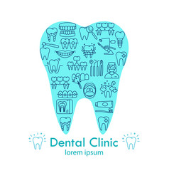 Dental clinic shape tooth poster vector