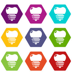 dental implant icons set 9 vector image