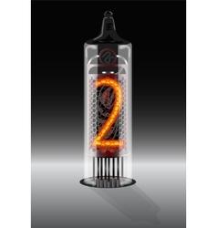 Digit 2 on vintage vacuum tube display vector
