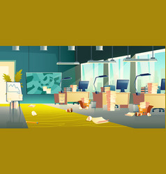 dirty office interior empty work place garbage vector image