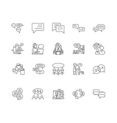 Discussion line icons signs set outline vector