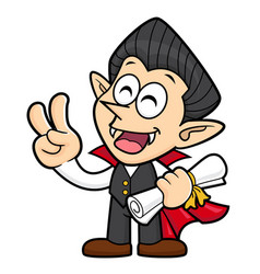 Dracula character quality warranty and victory vector