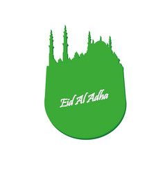 eid al adha lettering composition of moslim holy vector image