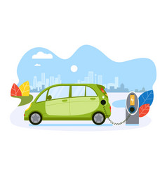 Electric car charge battery public ecology vector