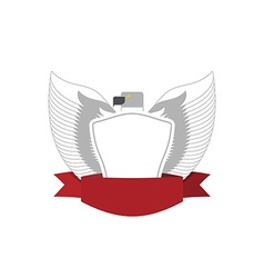 Emblem of White Bird with shield Hawk military vector image